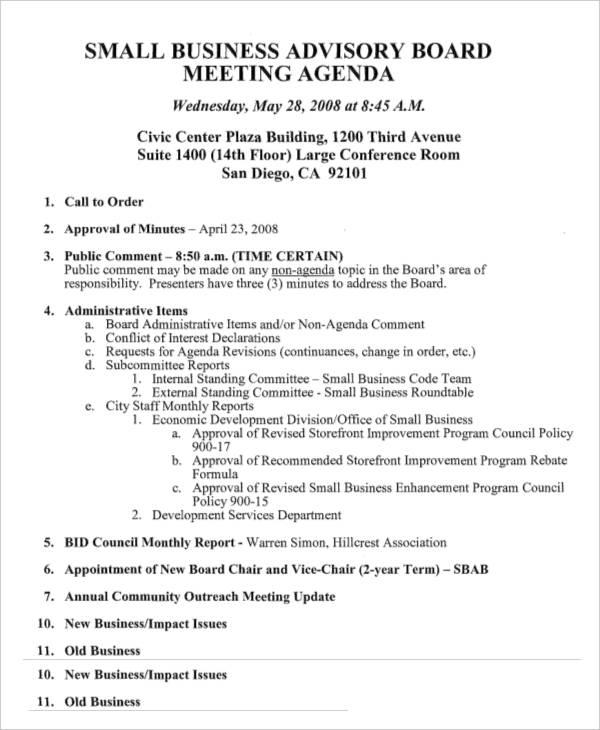 small business meeting agenda - Josemulinohouse