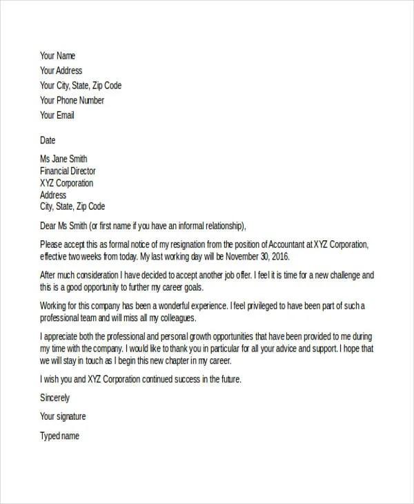 12+ New Job Resignation Letters - PDF, DOC Free  Premium Templates