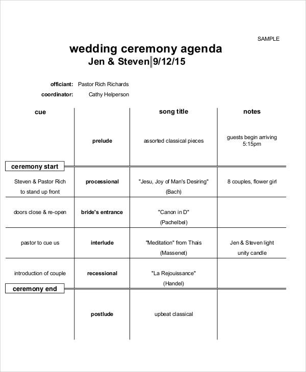 8+ Sample Ceremony Agenda - Free Sample, Example Format Download