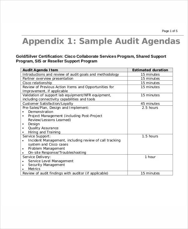 9+ Sample Audit Agenda - Free Sample, Example Format Downlaod Free - sample audit program