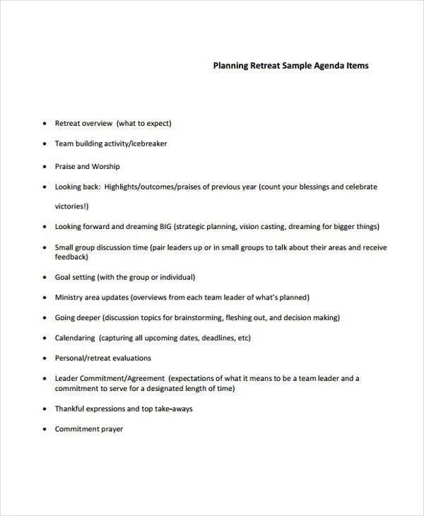 10+ Retreat Agenda Templates - Free Sample, Example Format Download