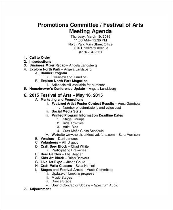 6+ Sample Festival Agenda - Free Sample, Example Format download