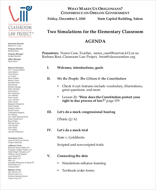 Classroom Agenda Examples - 9+ Free Word, PDF Format Download Free