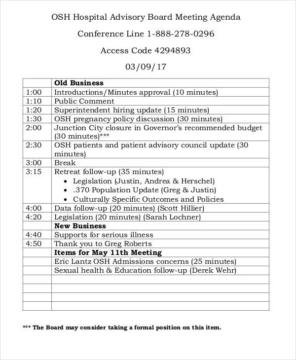 10+ Sample Advisory Agenda - Free Sample, Example Format Download - sample board meeting agenda