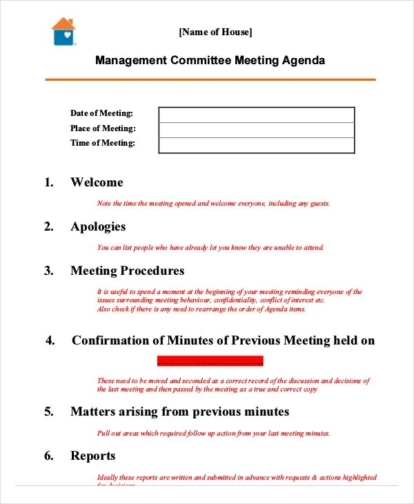10+ Management Agenda Example - Free Sample, Example Format Download