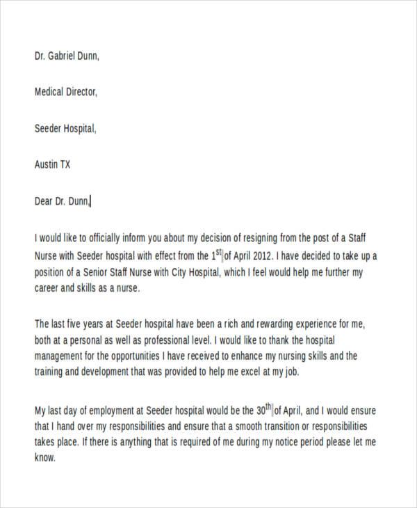 Nursing Resignation Letters Retirement Resignation Letter For Nurse