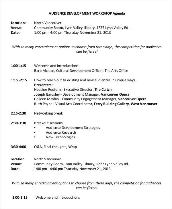 Workshop Agenda Samples quantweb - sample agenda