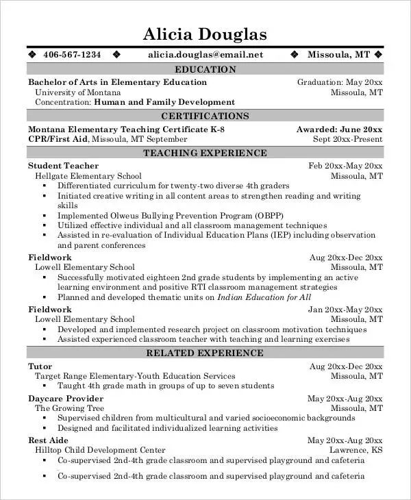 resume format doc for experienced