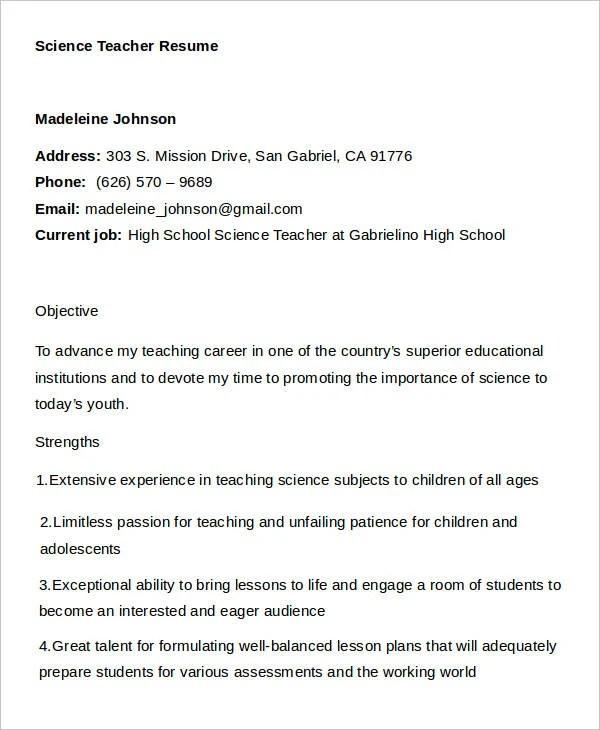25 Simple Teacher Resumes - Free Word, PDF Documents Download - science teacher resume