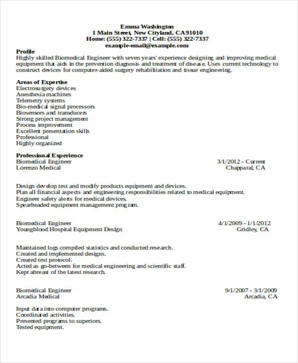 47+ Engineering Resume Samples - PDF, DOC Free  Premium Templates - biomedical engineering manager sample resume