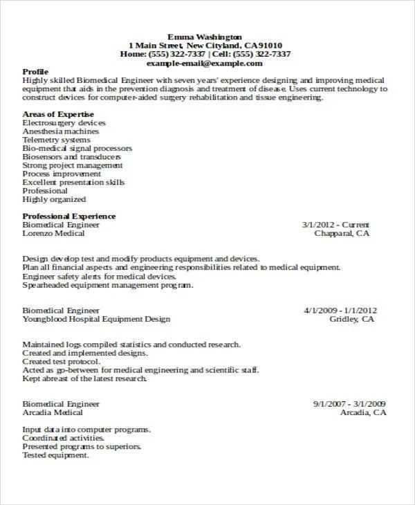 professional engineering resume templates