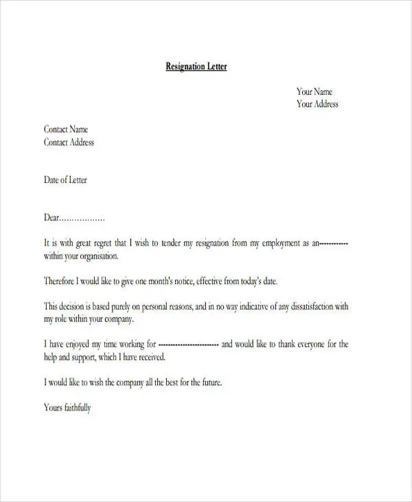 Resignation Letter Samples Template Top Form Templates 28 Resignation Letters In Pdf Free And Premium Templates