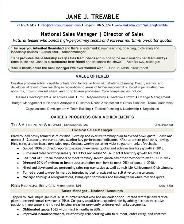30+ Sales Resume Templates - PDF, DOC Free  Premium Templates - national sales director resume