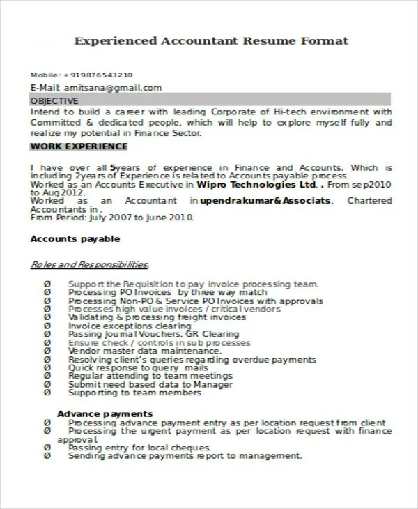 33+ Accountant Resumes in Doc Free  Premium Templates - resume format for accounts executive