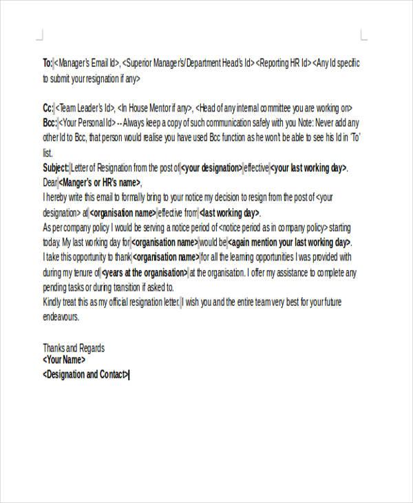 sample email resignation letter - Erkaljonathandedecker