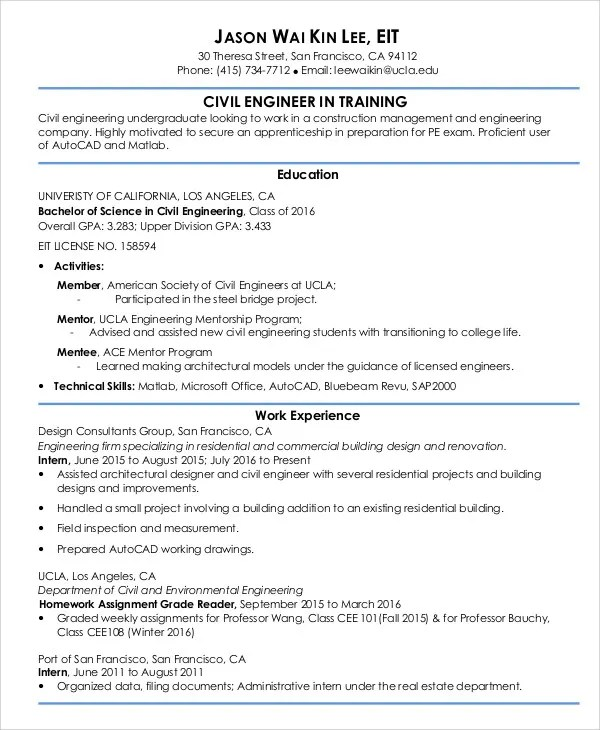54+ Engineering Resume Templates Free  Premium Templates - american resume template