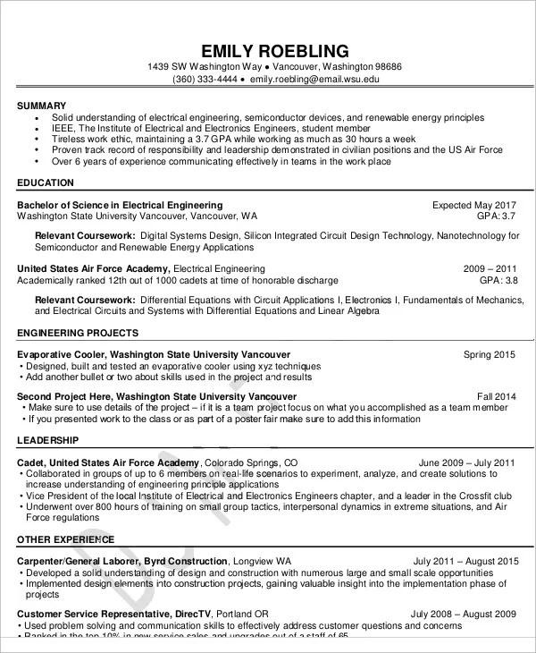 54+ Engineering Resume Templates Free  Premium Templates - skills used for resume