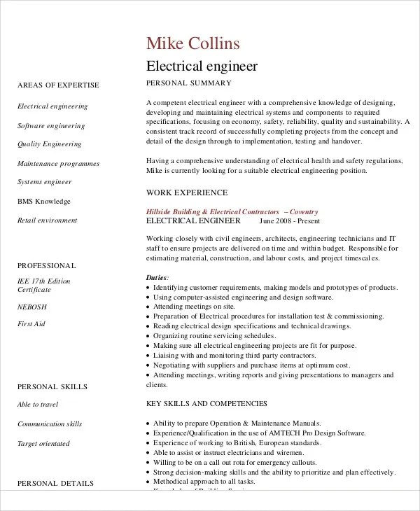 54+ Engineering Resume Templates Free  Premium Templates - electrical engineering resume sample