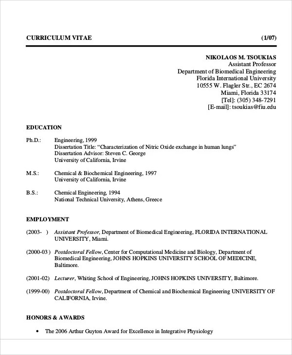 54+ Engineering Resume Templates Free  Premium Templates - biomedical engineering manager sample resume
