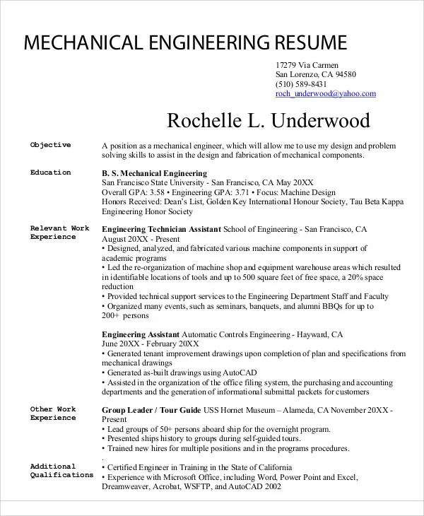 54+ Engineering Resume Templates Free  Premium Templates - Engineering Resume Templates Word