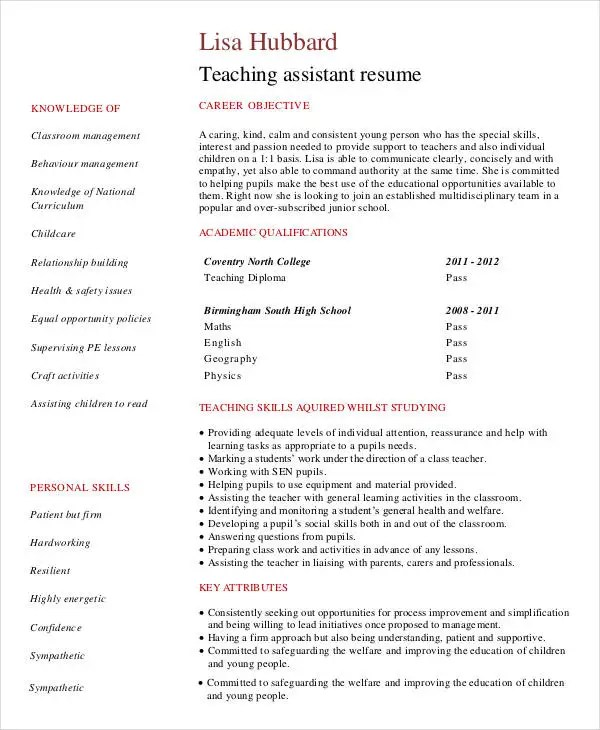 40+ Modern Teacher Resume Templates - PDF, DOC Free  Premium - sample teacher resume no experience