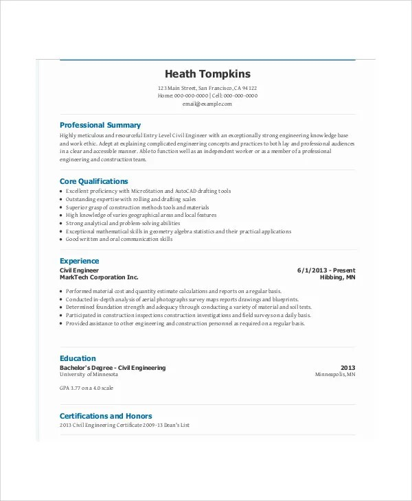 Sample Resume Civil Engineering Fresh Graduate Top 2017 54 Engineering Resume Templates Free And Premium Templates