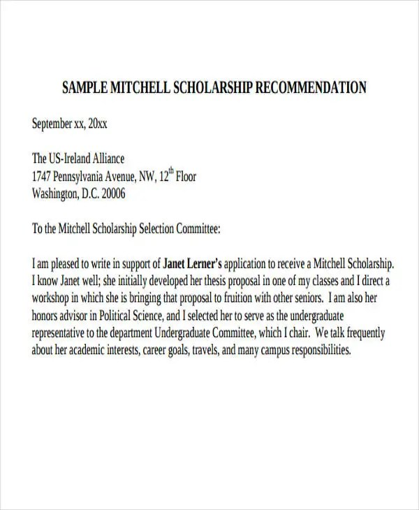 41+ Recommendation Letter Example Templates Free \ Premium Templates - scholarship recommendation letter