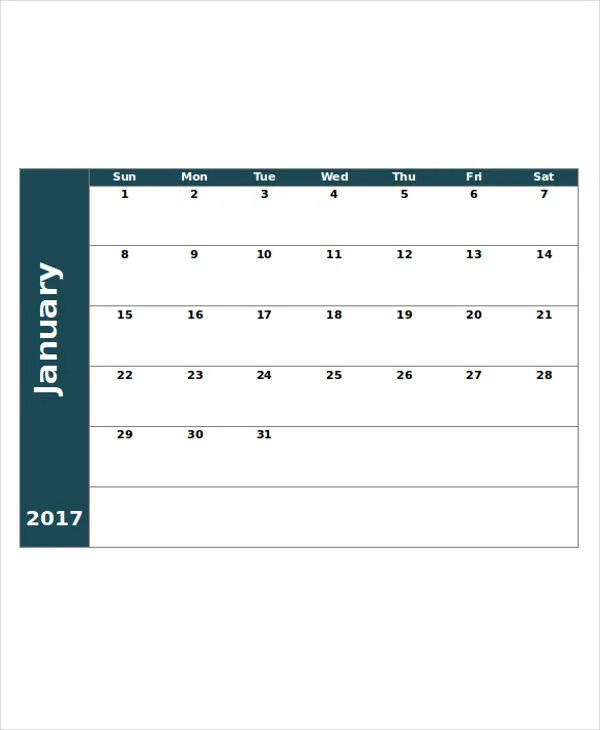 Printable Blank Calendar Template - 9+ Free Word, Excel, PDF - Printable Blank Calendar