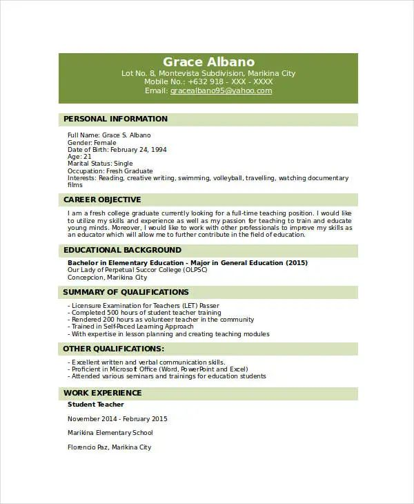 resume for fresh graduate doc