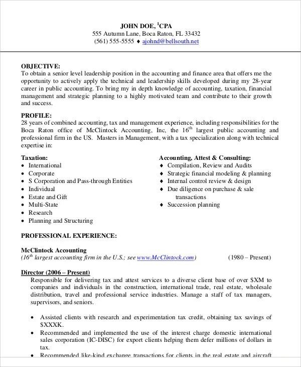 30+ Accountant Resume Templates - PDF, DOC Free  Premium Templates