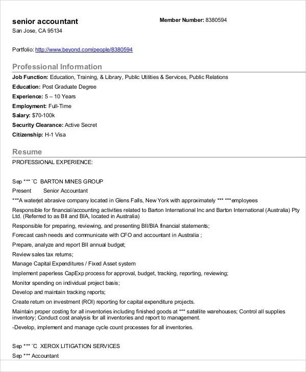31+ Accountant Resume Samples Free \ Premium Templates - senior accountant resume sample