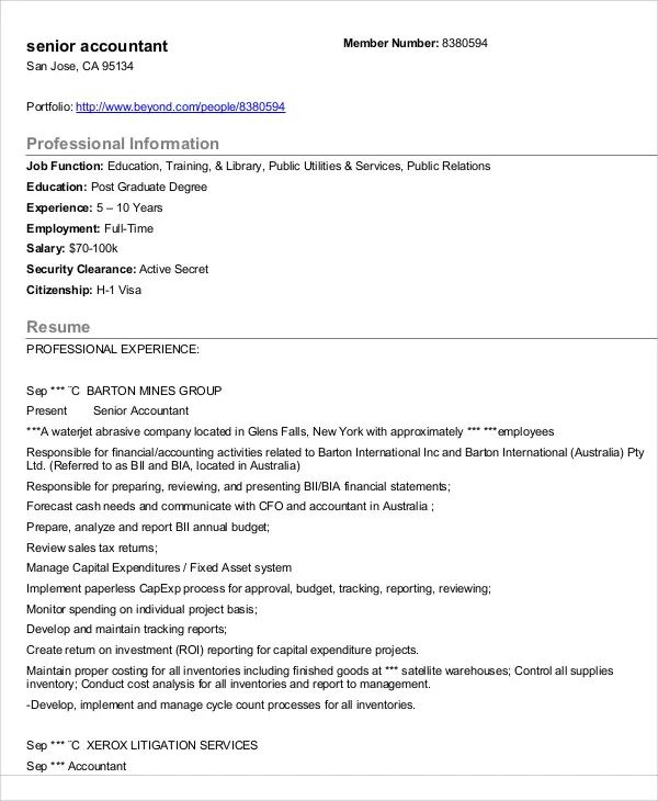 word templates for accountant resume