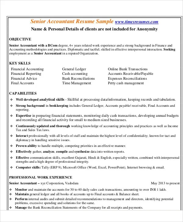sample senior accountant resumes - Acurlunamedia - resume format for accountant