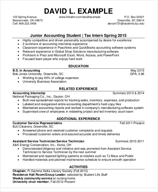 31+ Accountant Resume Samples Free \ Premium Templates - accounting student resume
