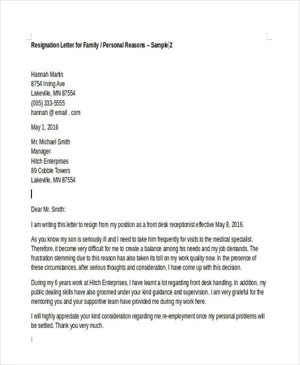 Resignation Letter With Reason Of Family | Cover Letter Examples