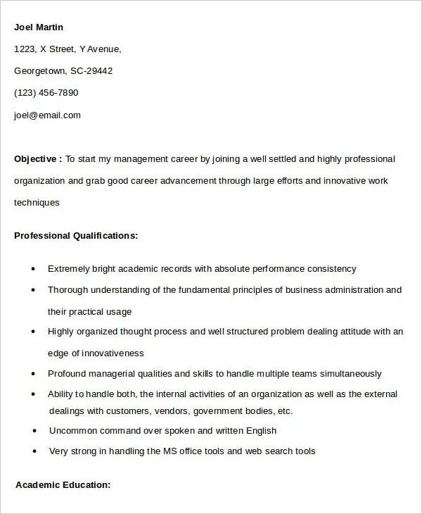 11+ Fresher Resume Samples Free  Premium Templates - mba fresher resume sample