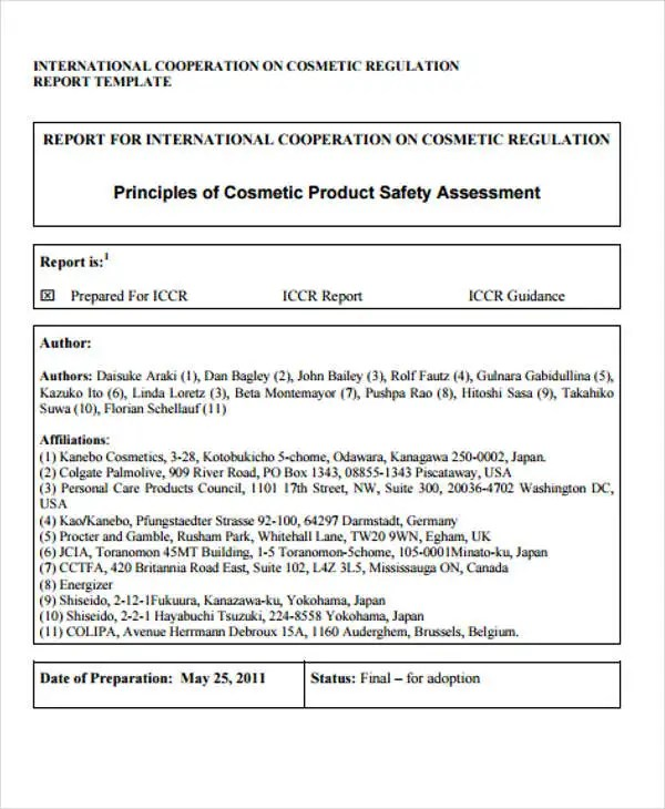 Safety Report Sample Product Safety Safety Report Templates - 10+ - assessment report format
