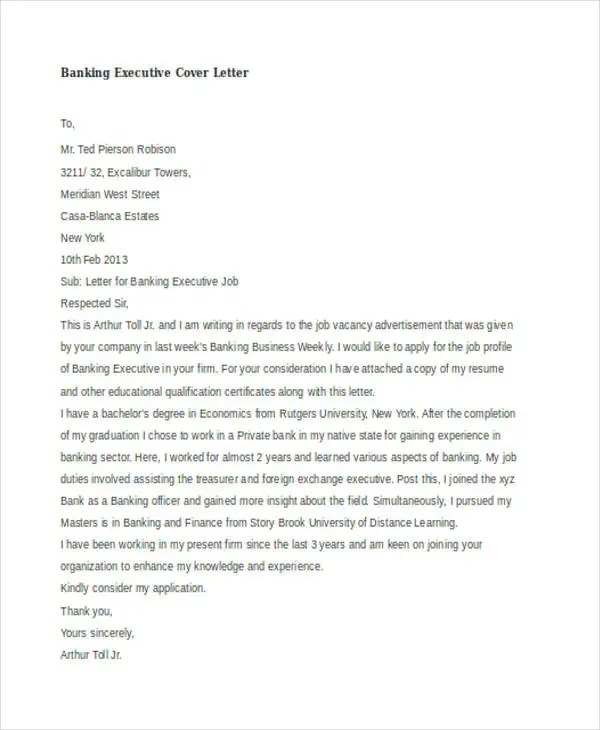 45+ Cover Letter Templates Free \ Premium Templates - banking cover letter