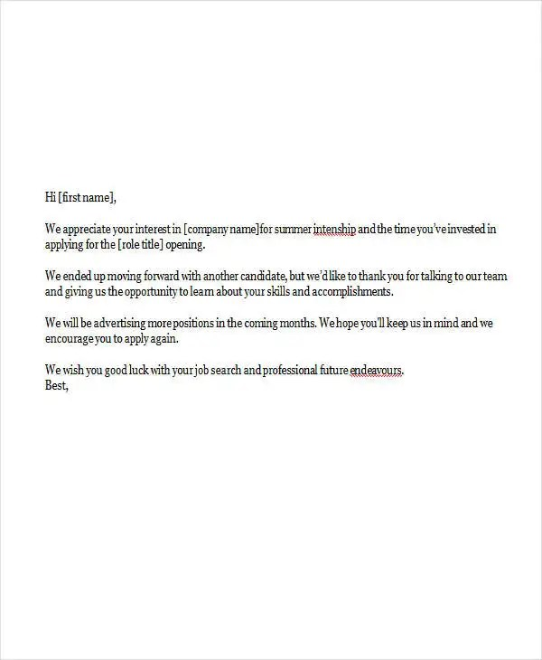 6+ Internship Rejection Letters - Free Sample, Example Format - intern letter of interest