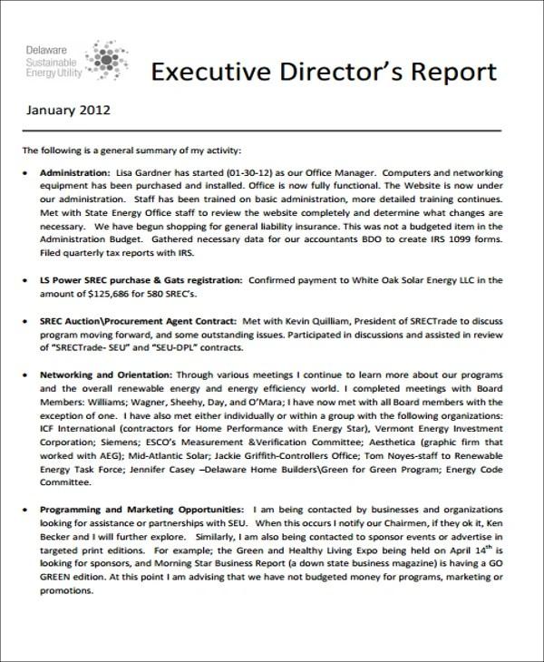 Example Executive Summary Report [Template.billybullock.us ]