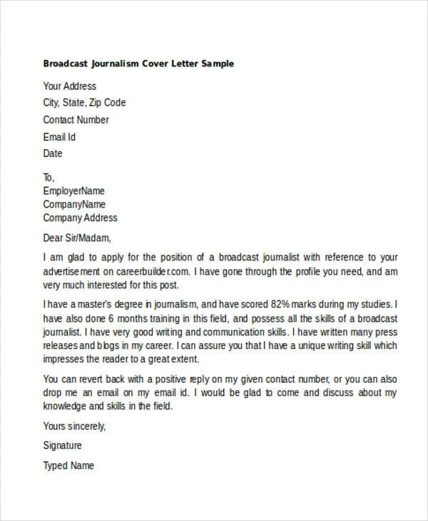 Application Letter Sample Application Letter Format Sample Cover Letter Broadcast Journalism