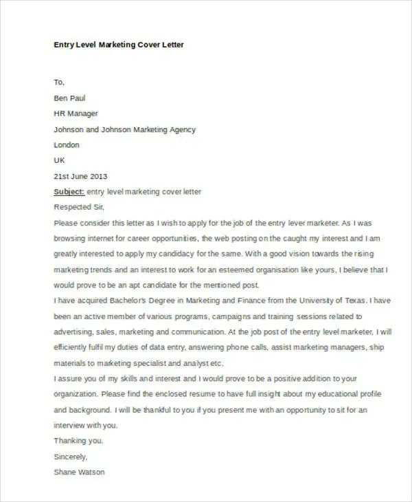 45+ Cover Letter Templates Free \ Premium Templates - entry level marketing cover letter