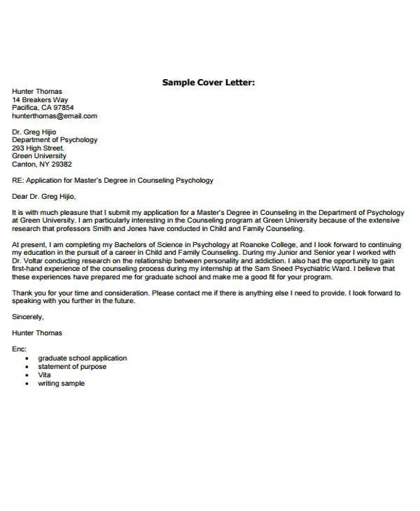 cover letter for graduate school application