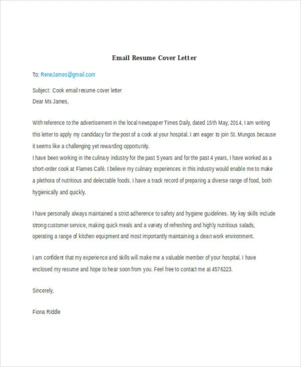 46+ Cover Letter Samples Free  Premium Templates - how to email resume and cover letter