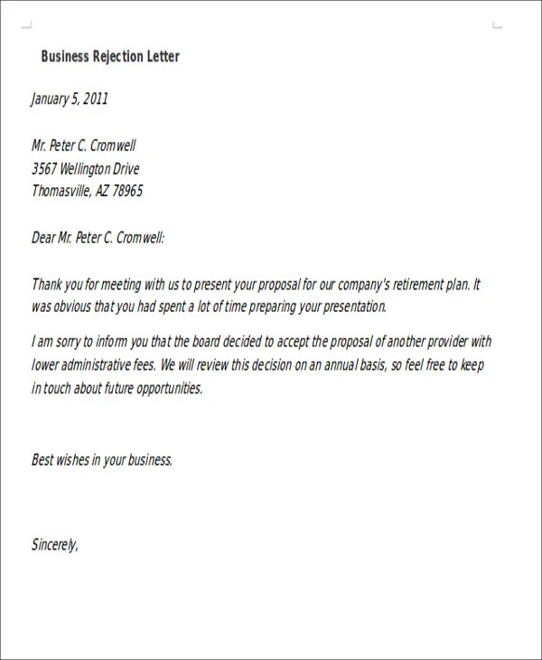 10+ Formal Rejection Letters - Free Sample, Example Format - formal proposal example
