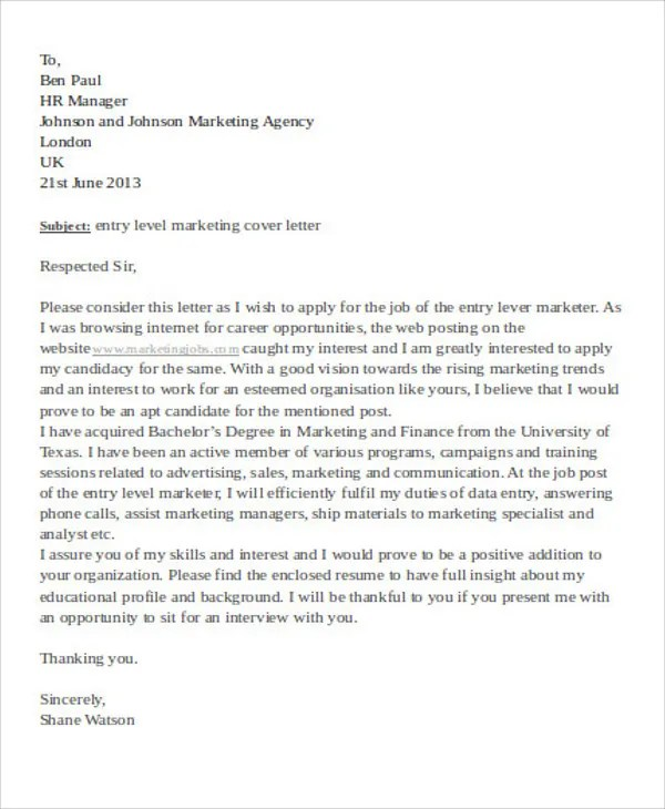 39+ Cover Letter Examples Free  Premium Templates - Entry Level Marketing Cover Letter