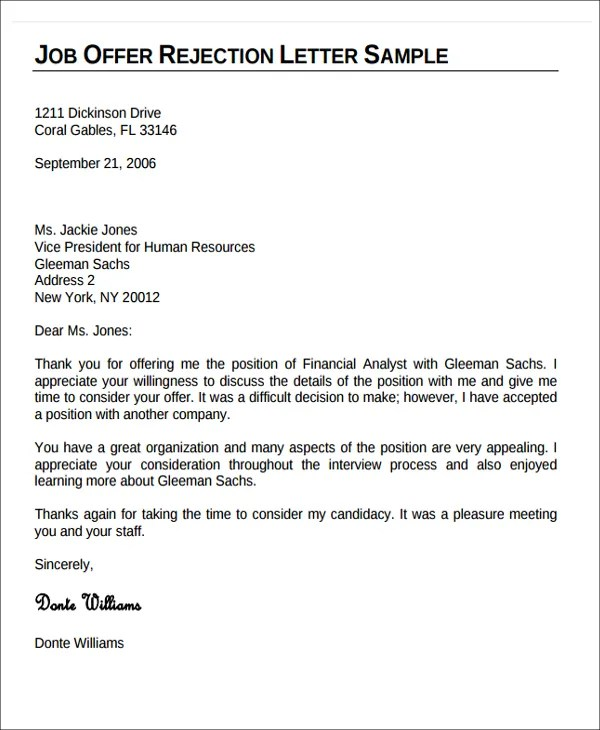 10+ Formal Rejection Letters - Free Sample, Example Format Download