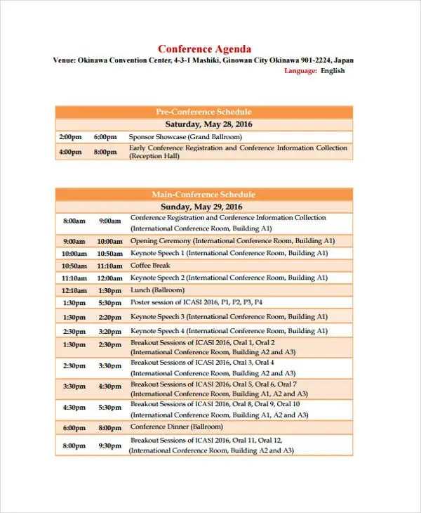 Conference Agenda Format Templates - Free Sample, Example - conference schedule template