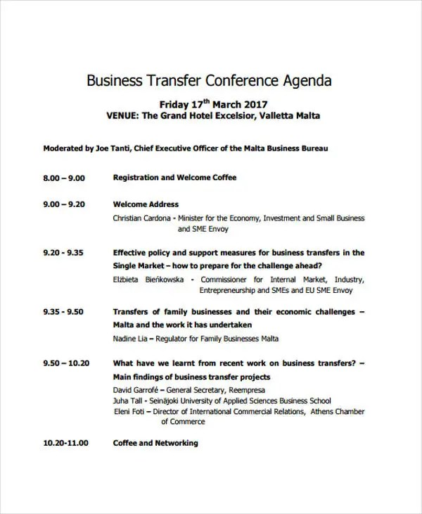 11+ Conference Agenda Format Templates - Free Sample, Example Format - conference agenda