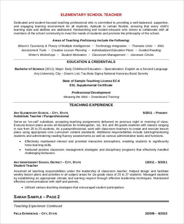 professional elementary teacher resume template